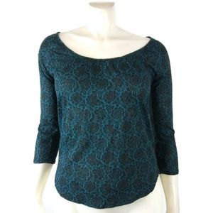 LUCKY BRAND Blue 3/4 Sleeve Basic Top Small Blouse